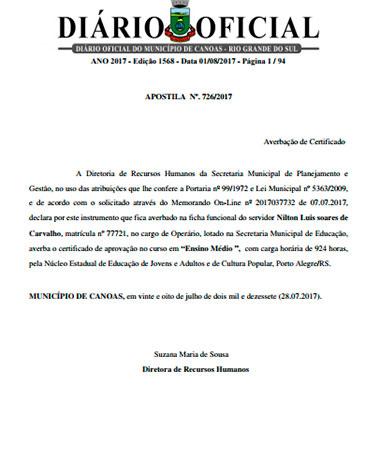 Diário Oficial Prefeitura Canoas